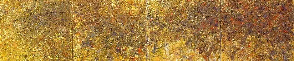 Quadriptyque-série jaune-Huile sur toile-292x116cm