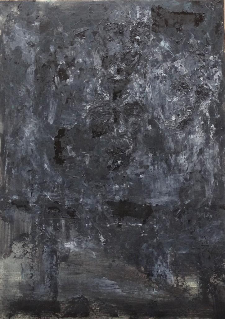 Au fond huile sur papier 50x70 2015